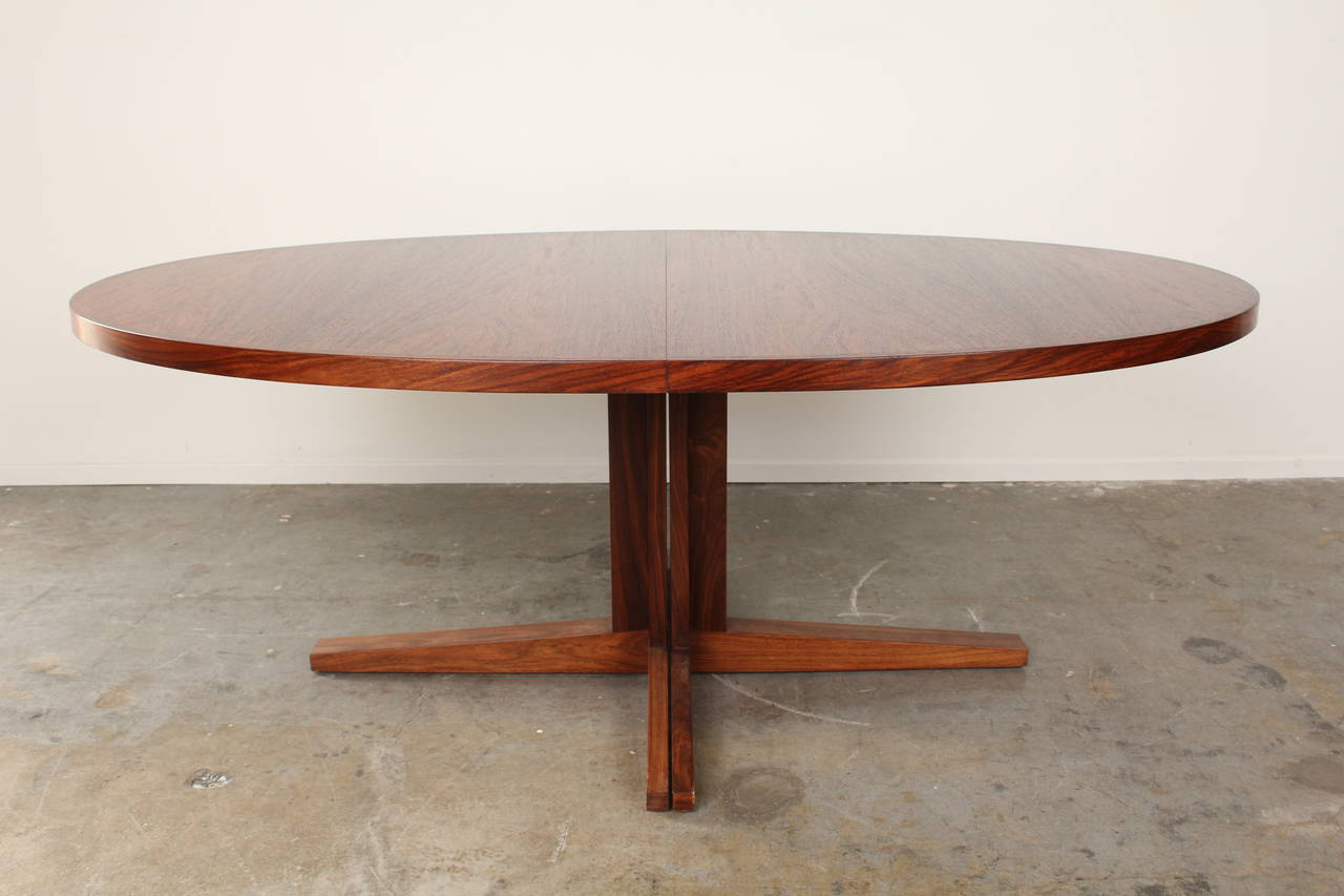 this oval rosewood mid century dining table by john mortensen is no