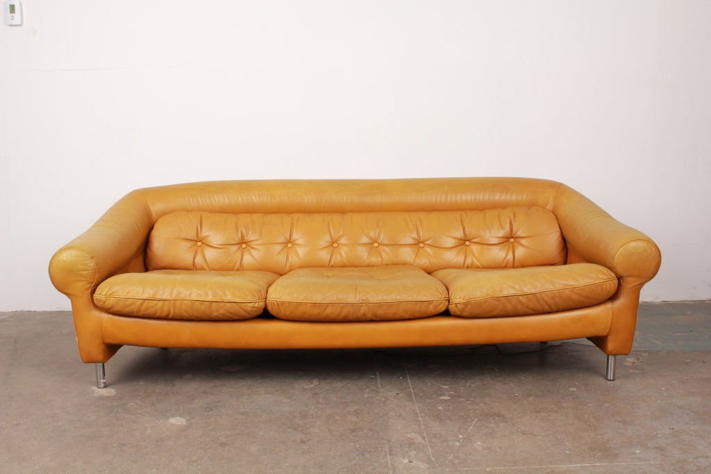 danish mid century modern curved back and arm leather sofa at 1stdibs