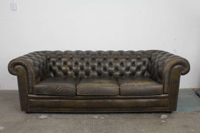Vintage English Chesterfield Sofa image 2