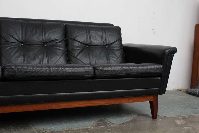 Mid Century Modern Vintage Black Leather Sofa With Rosewood Base For