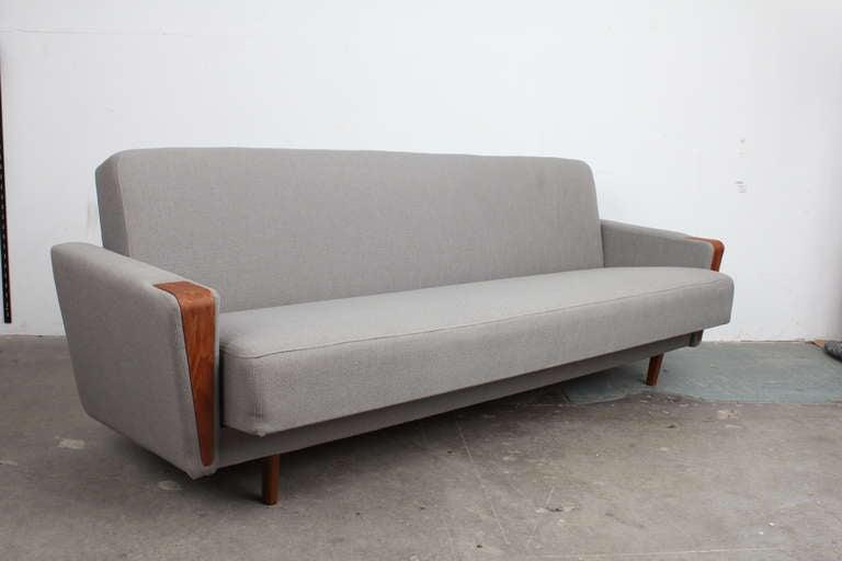 danish mid century modern tight back sleeper sofa at 1stdibs. Black Bedroom Furniture Sets. Home Design Ideas