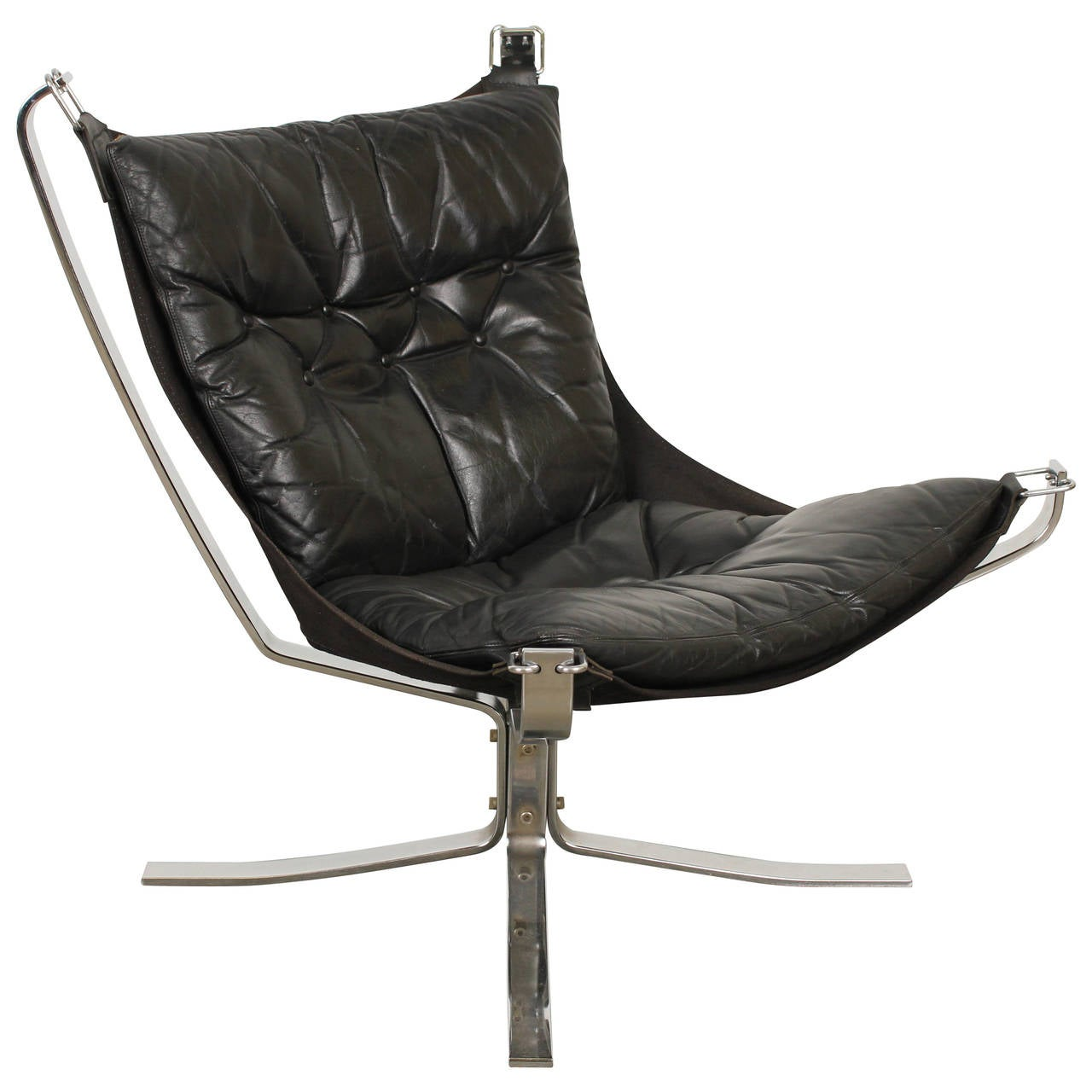 black leather falcon chair by sigurd ressell for sale at 1stdibs. Black Bedroom Furniture Sets. Home Design Ideas
