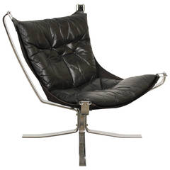 Black Leather Falcon Chair by Sigurd Ressell
