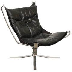 Schwarzer Leder Sessel von Sigurd Ressell