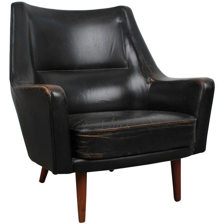 black leather mid century modern lounge chair 1 black leather mid century
