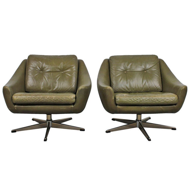 Dark Olive Green Leather Mid Century Modern Lounge Chairs