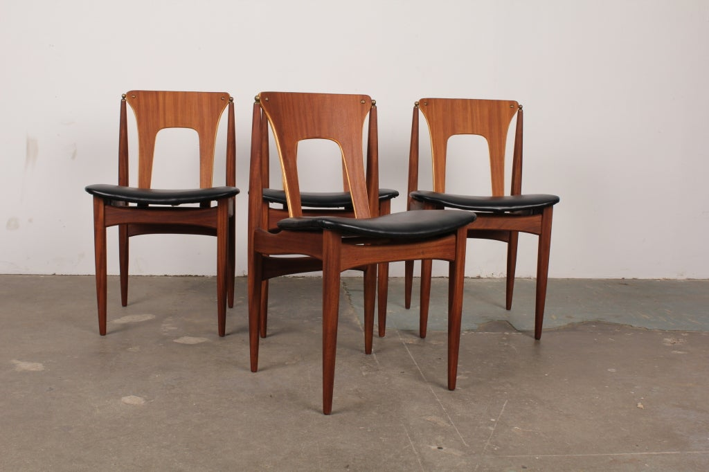 Set of 4 Unique Danish Mid Century Dining Chairs 3