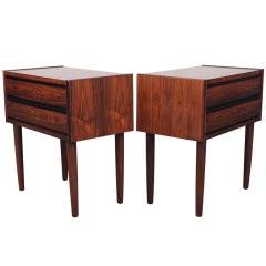 Pair of  rosewood Danish mid century modern beside tables.
