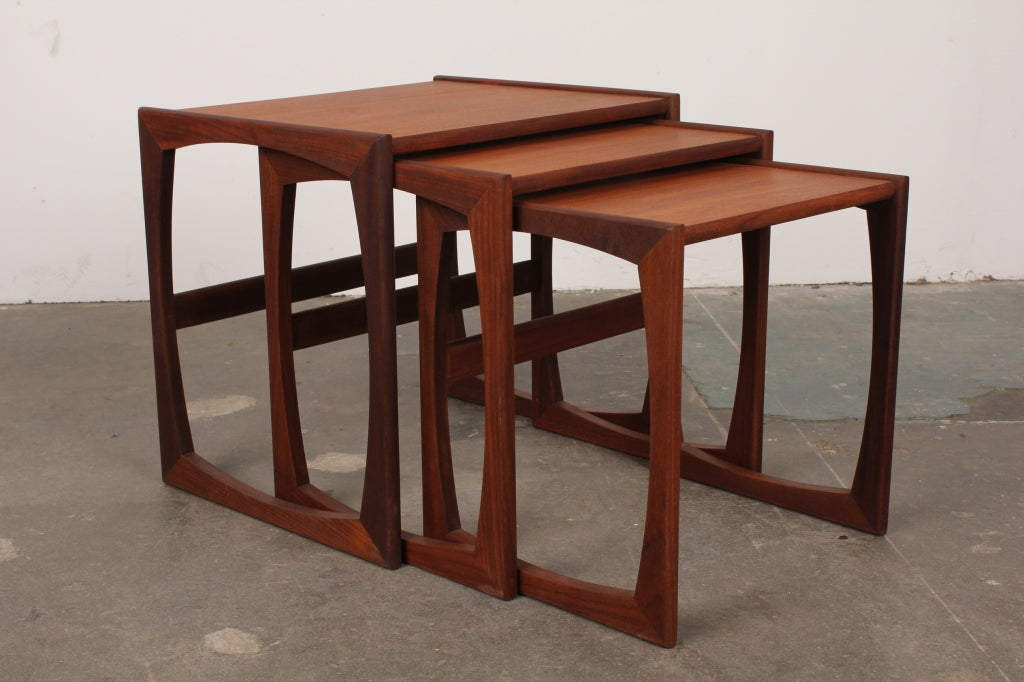 Superb Set Of 3 Danish Modern G Plan Teak Nesting Tables 3