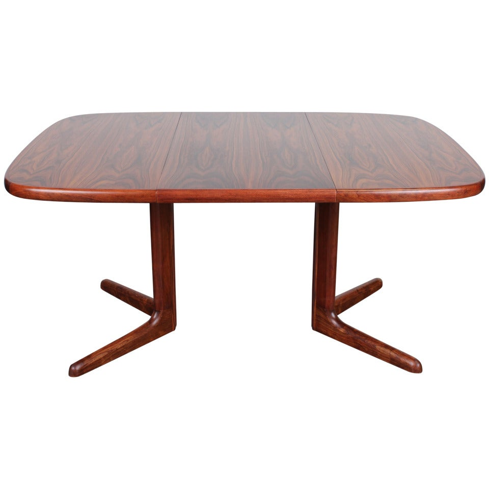 Danish rosewood rounded corner pedestal base dining table for Corner dining table