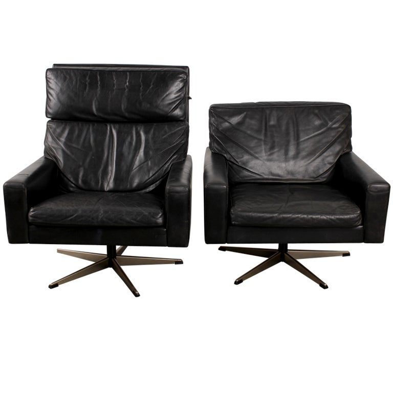 pair of black leather danish mid century modern swivel chairs black leather mid century