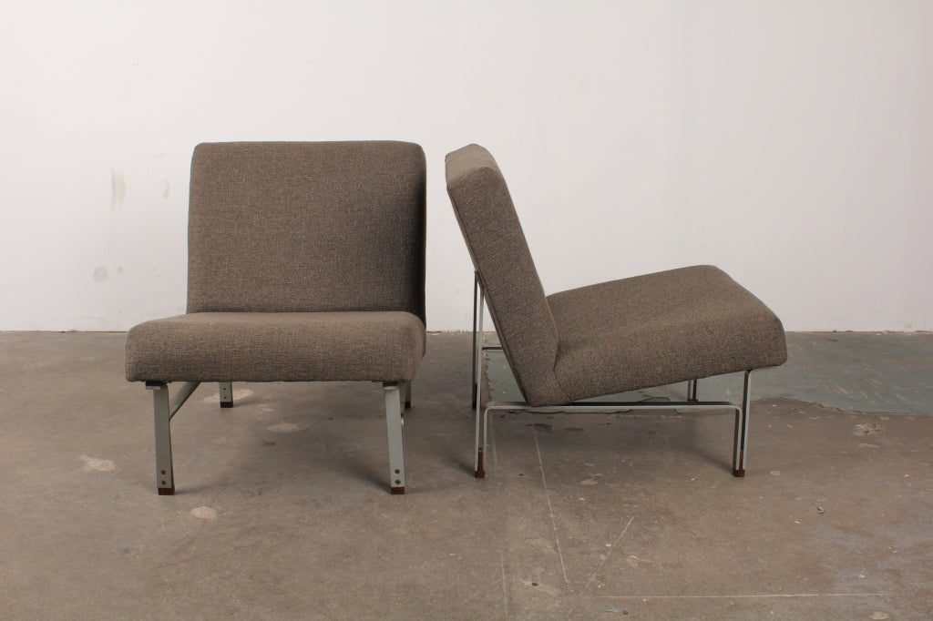 Pair Of Danish Mid Century Modern Slipper Chairs With