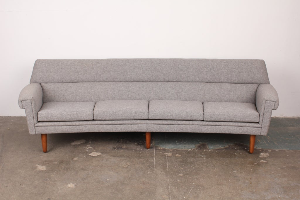 Danish mid century modern curved 4 seat sofa at 1stdibs
