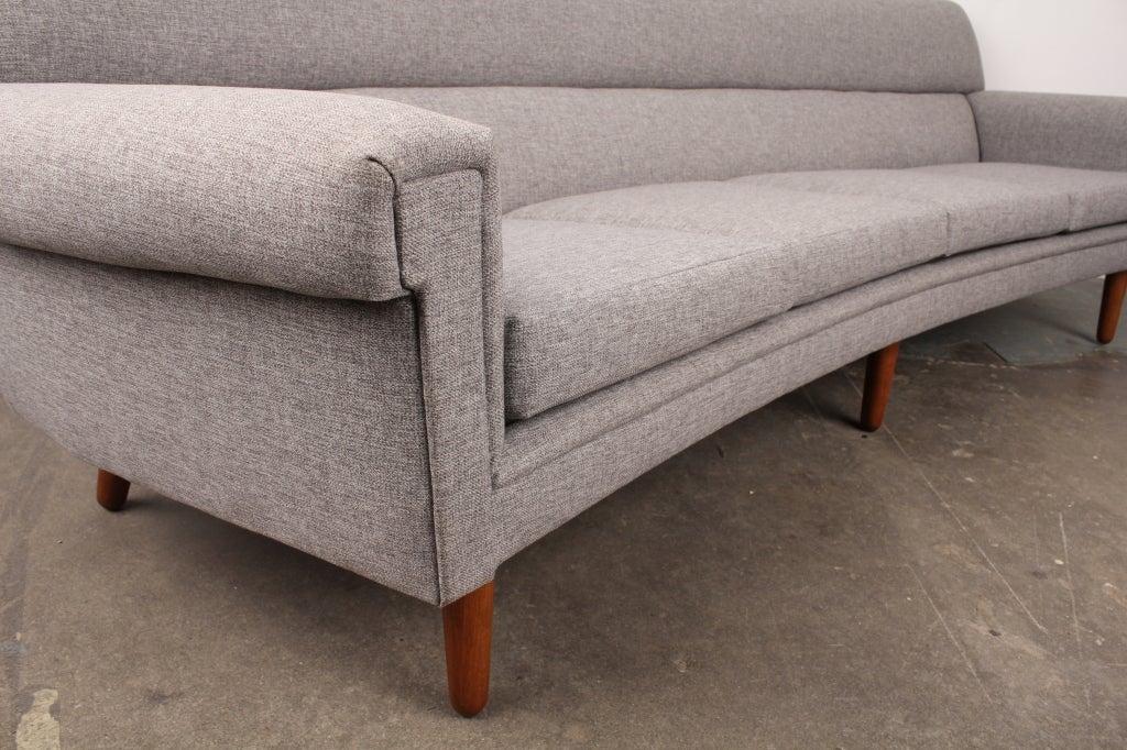 Danish mid century modern curved 4 seat sofa at 1stdibs