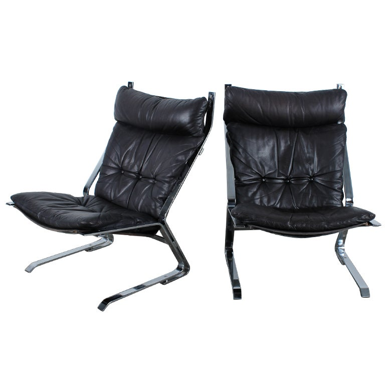 Mid Century Modern Black Leather Chairs At 1stdibs