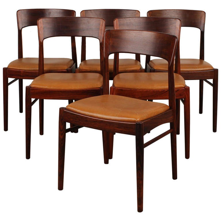 Danish Modern Dining Chair: Set Of 6 Rosewood Danish Modern Dining Chairs At 1stdibs