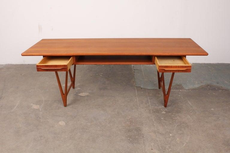 Danish Mid Century Modern Teak Coffee Table With Two Drawers And U0027Vu0027 Shaped  Legs