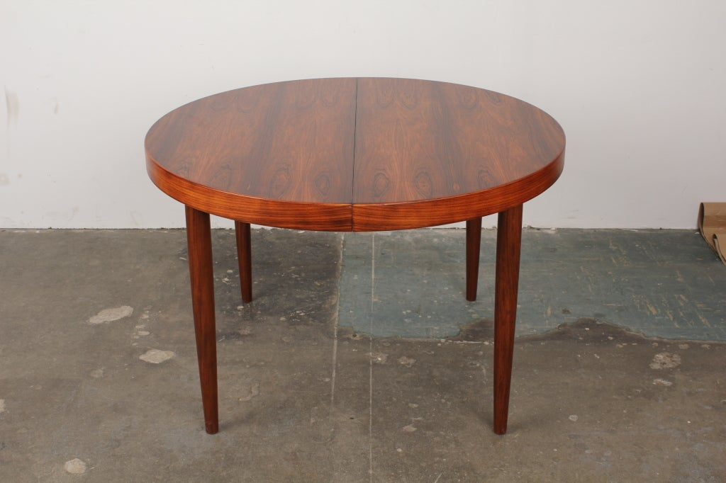 rosewood danish mid century modern dining table round and chairs uk