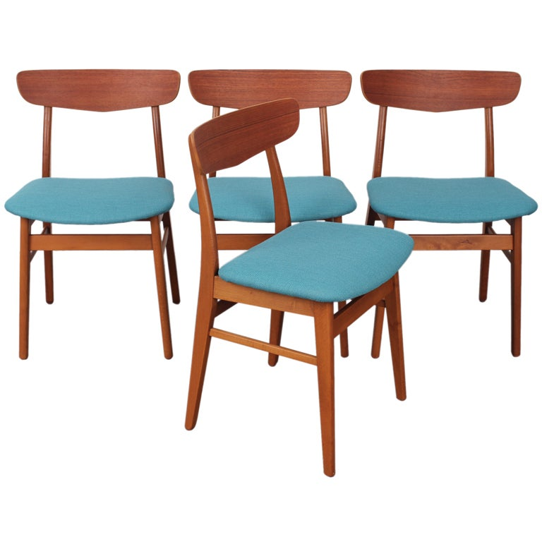 set of 4 danish mid century modern teak and oak dining chairs at