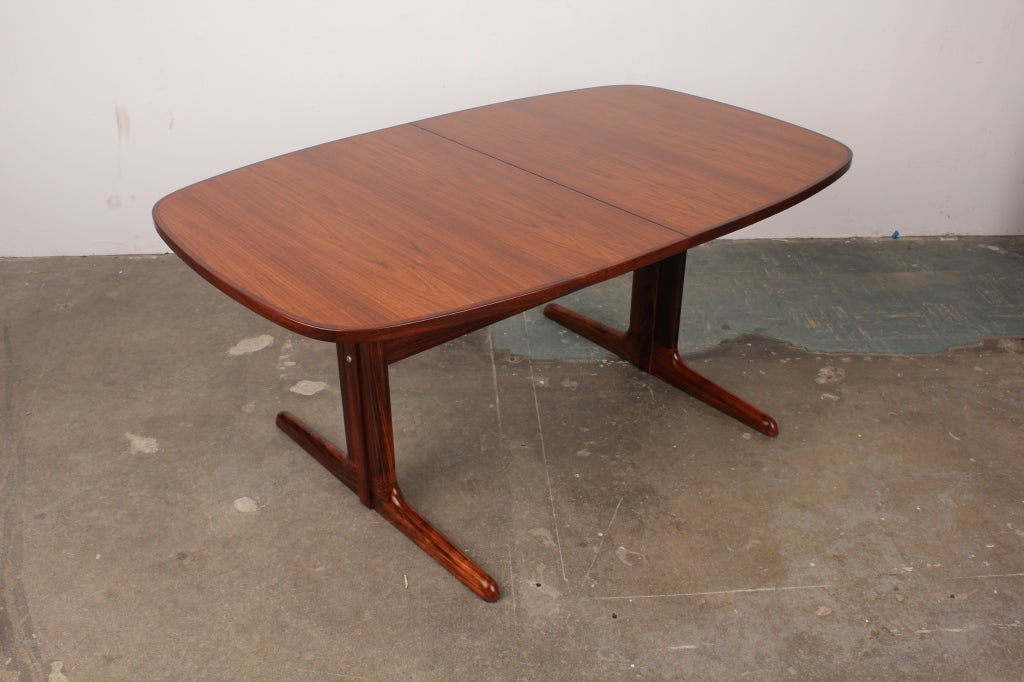 danish mid century modern rosewood pedestal oval dining table image 8