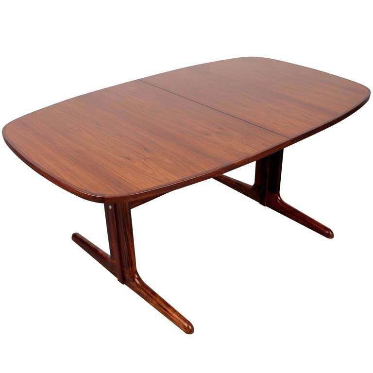 Danish Mid Century Modern Rosewood Pedestal Oval Dining Table
