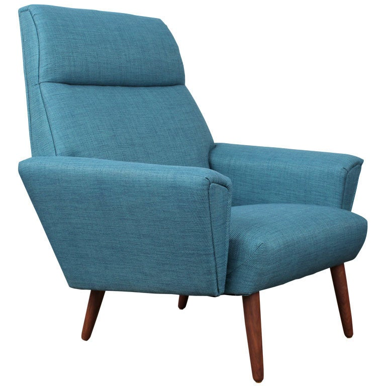 Newly upholstered danish mid century modern lounge chair for Mid century modern upholstered chair