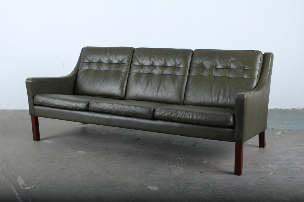 Wonderful Danish Mid Century Modern Green Leather Sofa 2