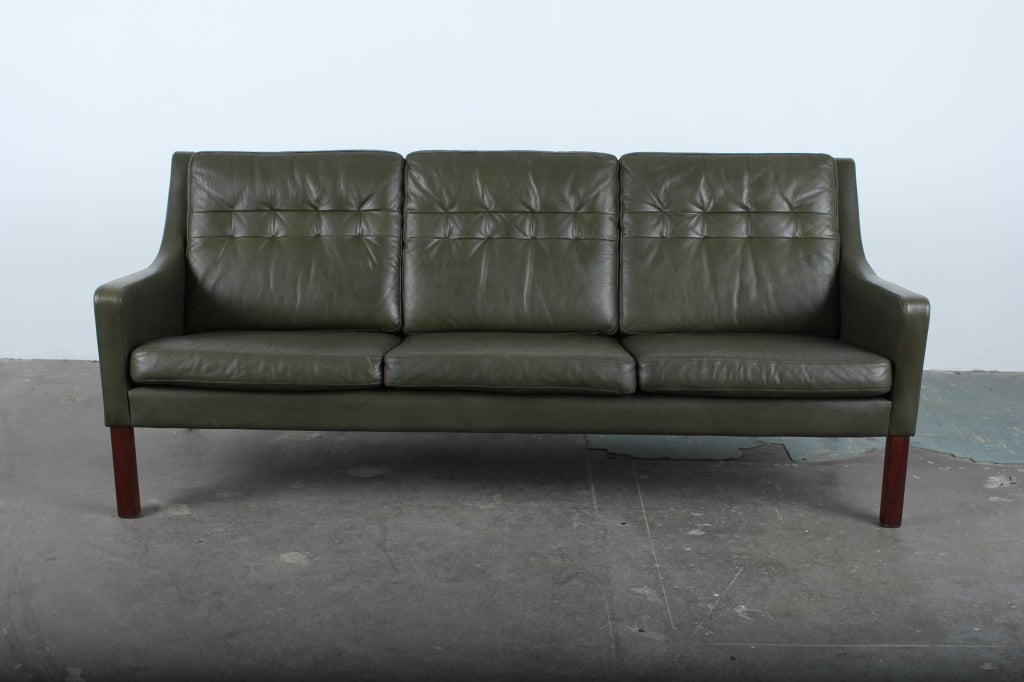 Danish Mid Century Modern Green Leather Sofa At 1Stdibs