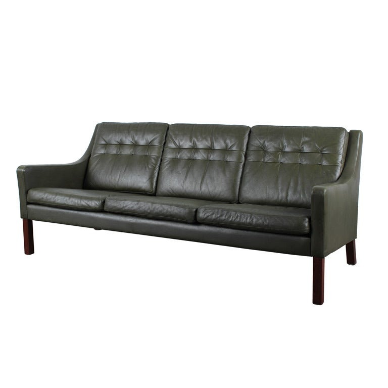 Danish mid century modern green leather sofa at 1stdibs for Mid century modern leather sofa