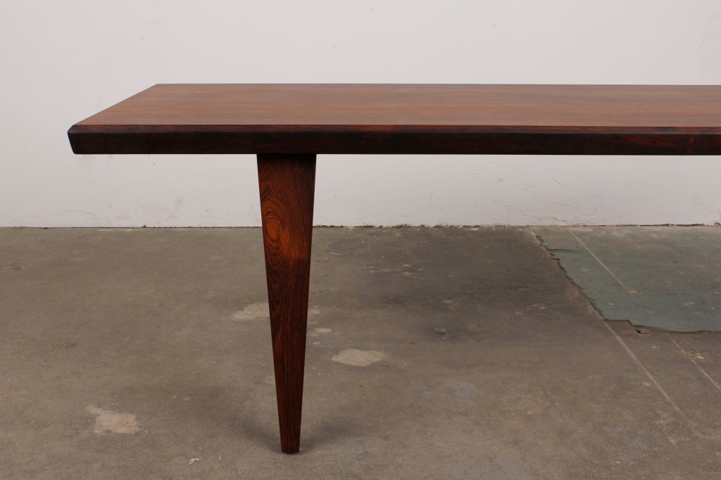 Danish Mid Century Modern Rosewood Coffee Table In Excellent Condition In North Hollywood, CA