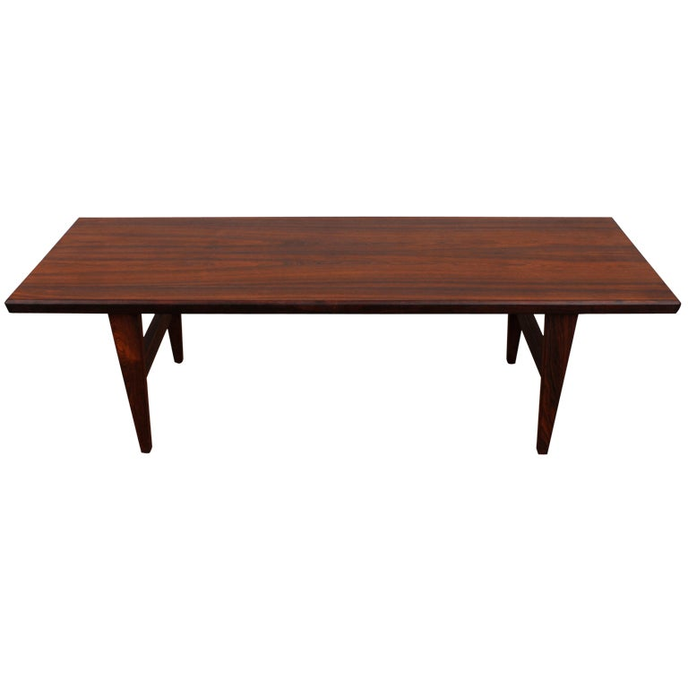 Danish mid century modern rosewood coffee table at 1stdibs for Danish modern coffee table
