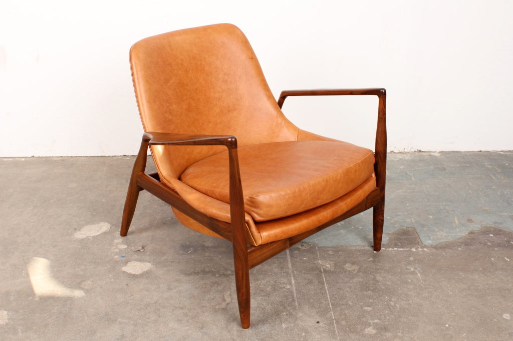 Mid century modern ib kofod larsen salen chair for Mid century reproduction