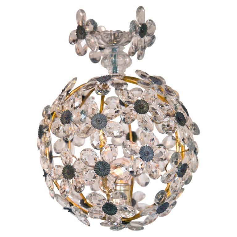 1920s Crystal Ball Floral Chandelier Pendant Light