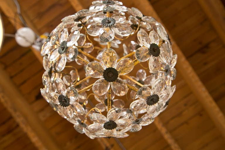 French 1920s Crystal Ball Floral Chandelier Pendant Light