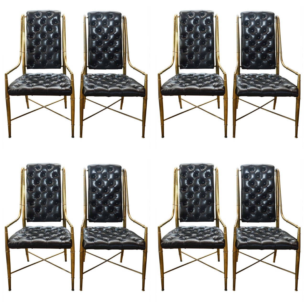 Of four chairs in oak and patinated cognac leather for sale at 1stdibs - Set Of Eight 1970s Mastercraft Brass And Leather Dining Chairs 1