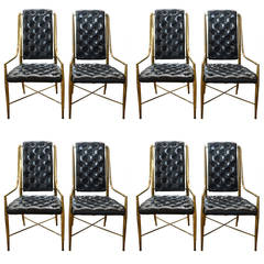 Set of Eight 1970s Mastercraft Brass and Leather Dining Chairs