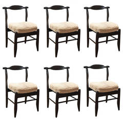 1950s Guillerme et Chambron Set of Six Dining Chairs in Oak and Shearling