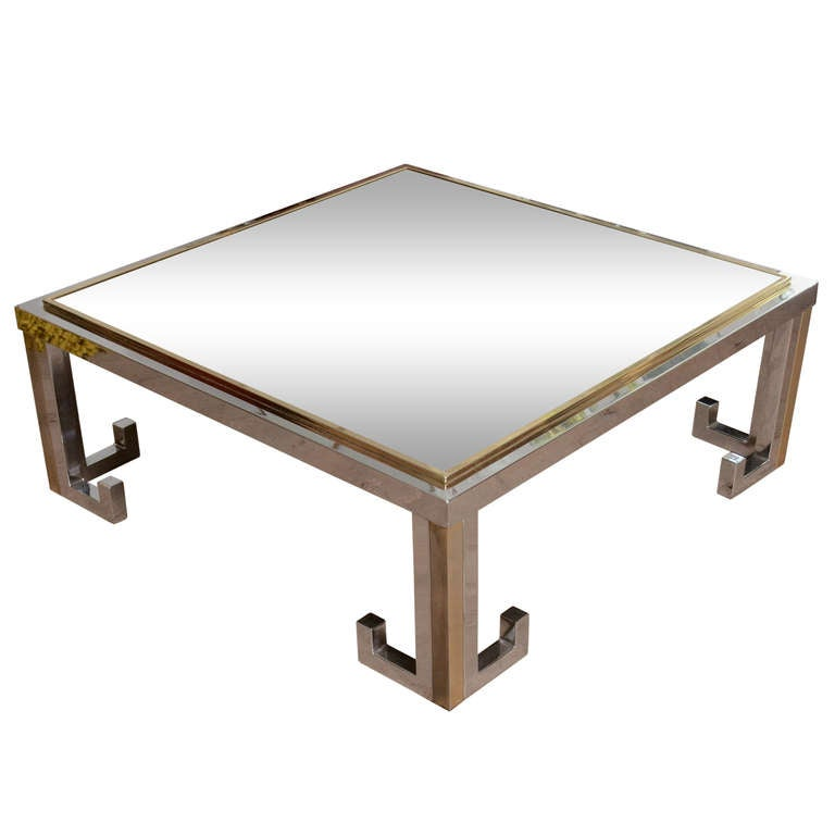 1960's Glass Table With Chrome And Brass Greek Key Design