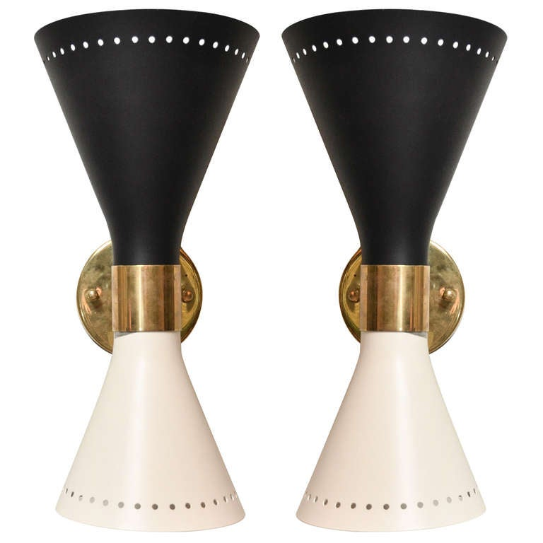Pair Of Mid-century Italian Black And White Sconces in the style of Stilnovo