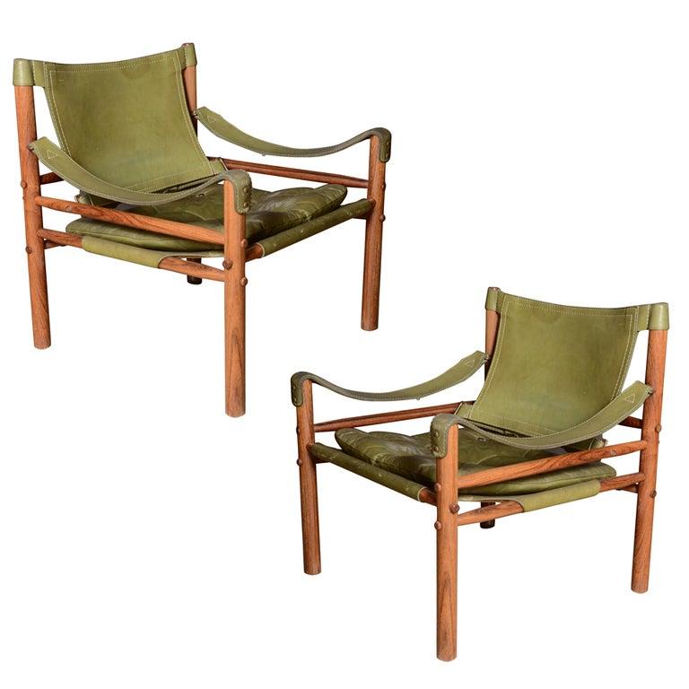 Pair of Mid-Century Arne Norell Safari chairs