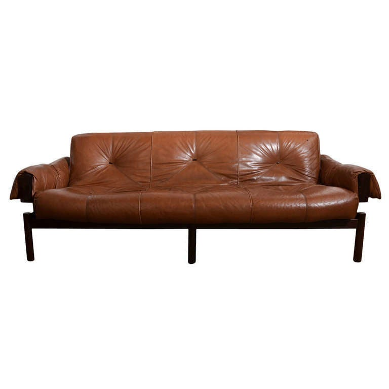 Percival Lafer Rosewood And Distressed Tufted Yellow: 1960's Mid Century Brazilian Percival Lafer Leather Sofa