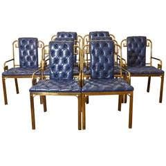 Set of Eight Mid Century Mastercraft Greek Key Leather Dining Chairs