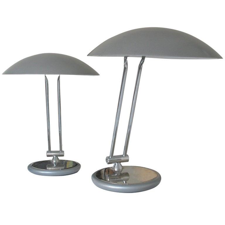 Pair Of Adjustable Aluminor Desk Lamps At 1stdibs