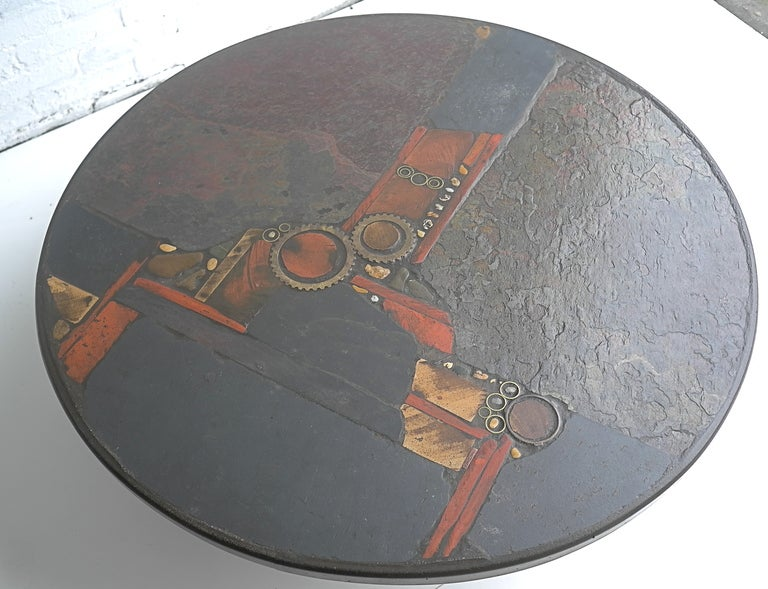 Paul Kingma Organic Art Slate And Brass Coffee Table 2