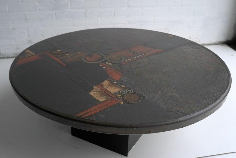 Paul Kingma Organic Art Slate And Brass Coffee Table 5