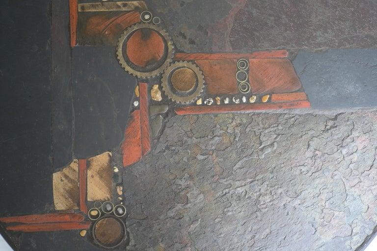 Paul Kingma Organic Art Slate And Brass Coffee Table 7
