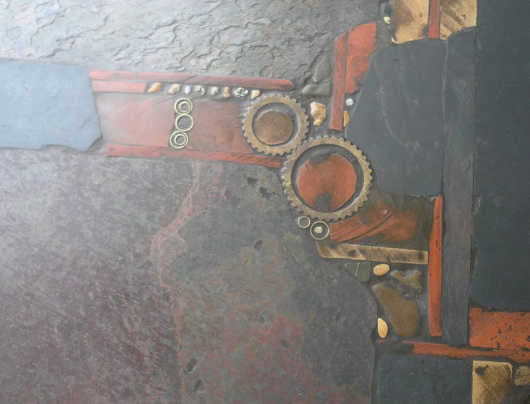 Paul Kingma Organic Art Slate And Brass Coffee Table 6