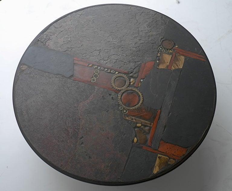 Paul Kingma Organic Art Slate And Brass Coffee Table 8