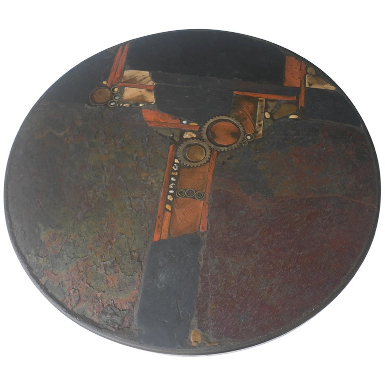 Paul Kingma Organic Art Slate And Brass Coffee Table 1