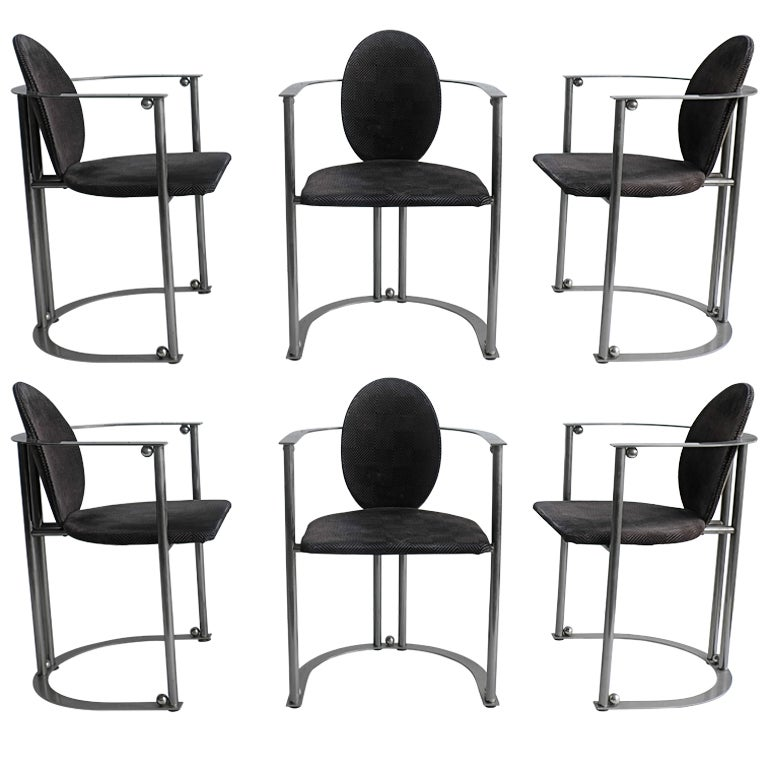 stainless steel dining room chairs | Set of six stainless steel 1970s deco dining chairs at 1stdibs